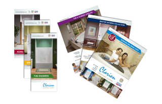 mini brochures and catalogs for the different divisions that make up clarion bathware