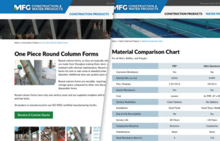MFG Construction and Water Products website subpages